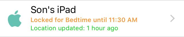 Bedtime Schedule Device Status
