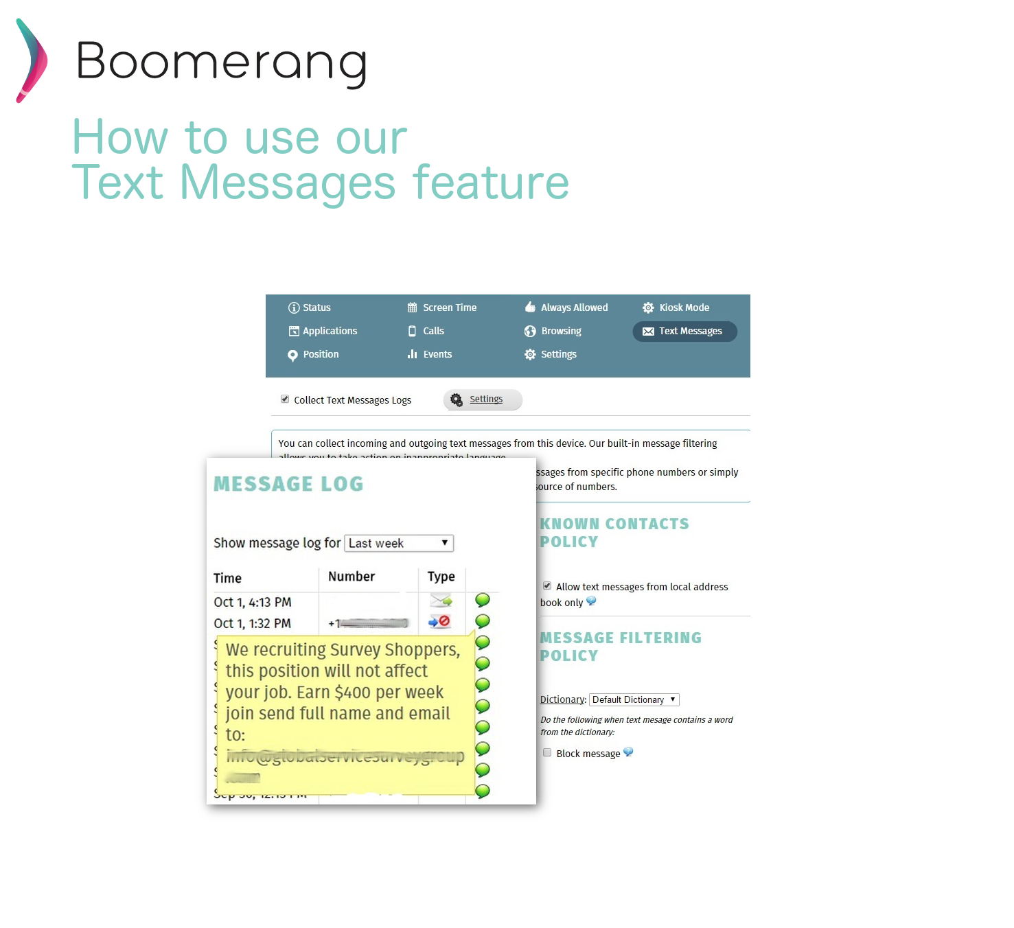 How to use boomerangs texting features howto use text messages feature buycottarizona
