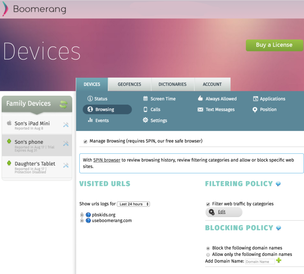 Boomerang Web Dashboard-Browsing tab