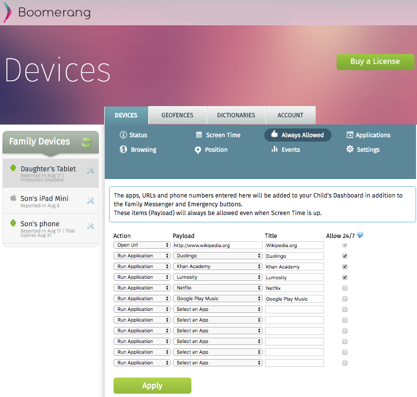 Boomerang Web Dashboard - Always Allowed