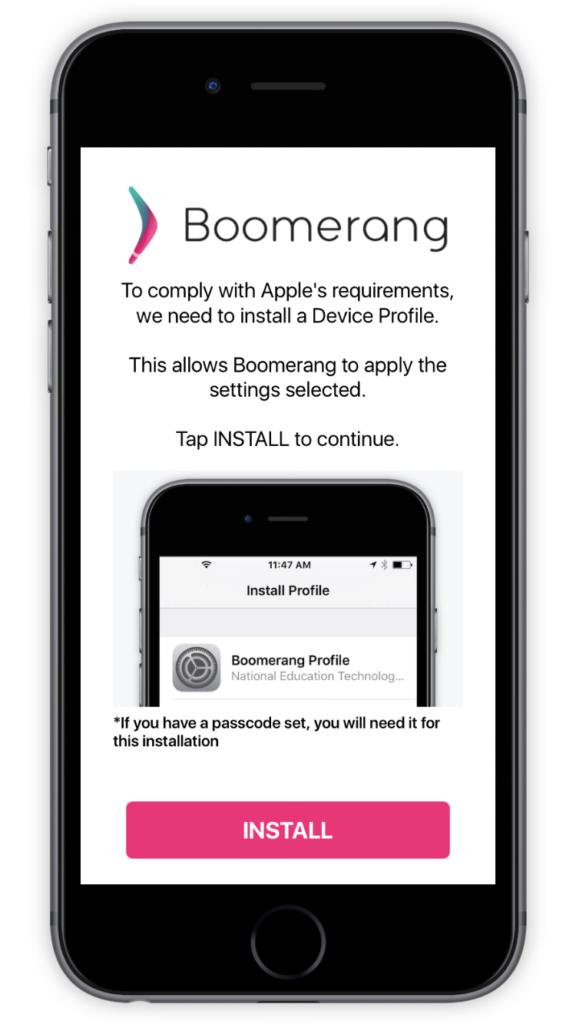 Boomerang Device Profile prompt screen