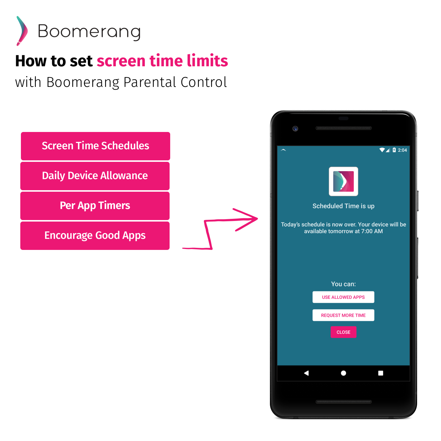 How to set screen time limits with Boomerang Parental Control
