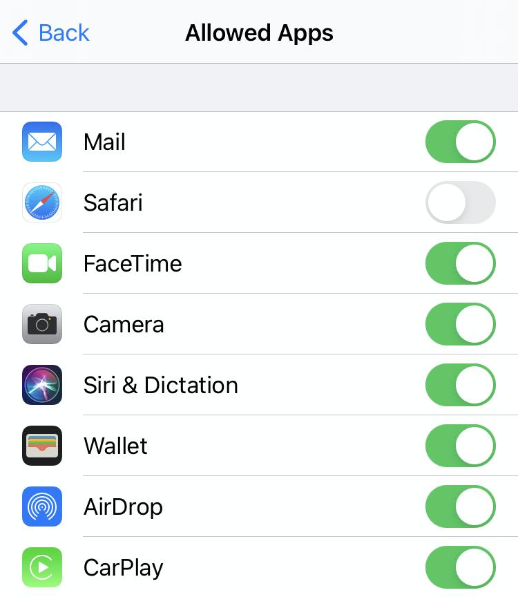 iOS block Safari